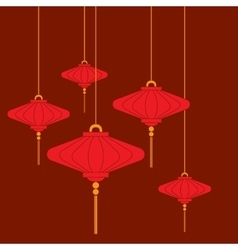 Traditional Chinese lanterns set in a flat style vector image