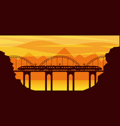 Train and landscape with mountain in silhouette vector