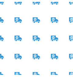 Truck icon pattern seamless white background vector
