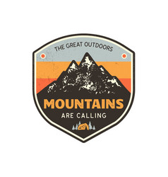 Vintage hand drawn mountains emblem great vector