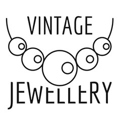 vintage pearls jewellery logo outline style vector image