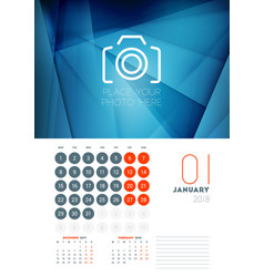 wall calendar template for january 2018 design vector image