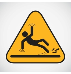 Wet floor caution sign vector