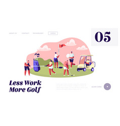 young characters with golf equipment and cart vector image