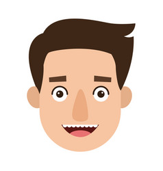 young man cartoon face character expression vector image