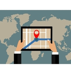 Businessman holds tablet and world map with vector image vector image