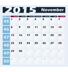 Calendar 2015 November design template vector image vector image