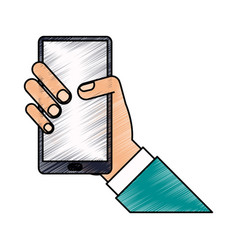 color pencil hand holding smartphone device vector image