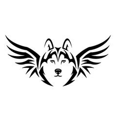 flying husky vector image vector image