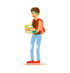 girl with modern short haircut standing with books vector image vector image