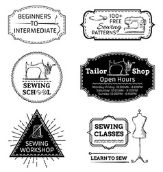 set of linear sewing and fashion design elements vector image vector image