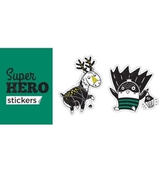 Super hero stickers vector