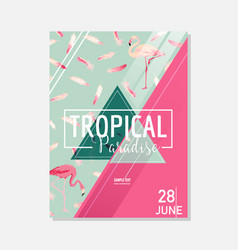 tropical flowers and flamingo bird summer graphic vector image vector image