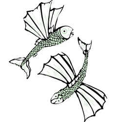 Two flying fish vector image vector image