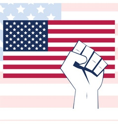 usa flag vector with fist independence background vector image vector image