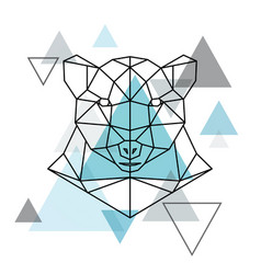 abstract geometric head of a polar bear wild vector image vector image