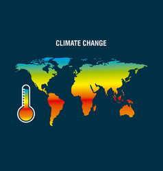 Climate change map earth thermometer color vector