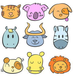 doodle of animal style cute collection vector image