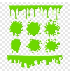 Green slime set on checkered transparent vector image