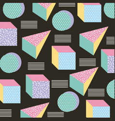 memphis style seamless pattern geometric icons vector image