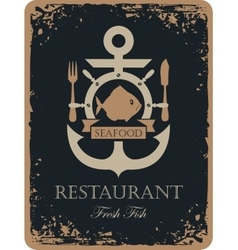 ship anchor and seafood vector image vector image