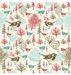 Vintage Birds Forest Pattern vector image