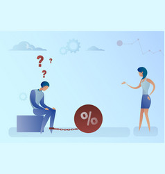 Woman talk to business man chain bound legs credit vector