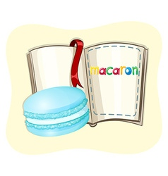 Blue macaron and a book vector