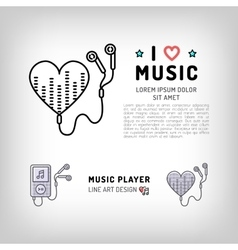 Music player isolated icon i love music vector