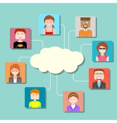 Social Media Cloud Computing Network vector image vector image
