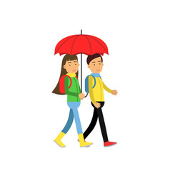 two friends walking under red umbrella vector image