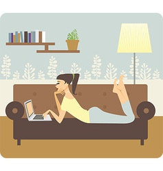 Woman working at home vector image