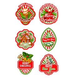 christmas badge for new year winter holiday design vector image vector image