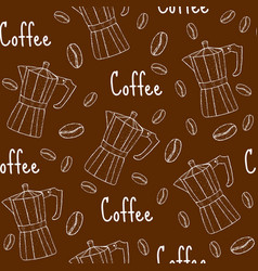 coffee seamless pattern with coffee maker cafe vector image