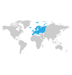 Europe continent blue marked in grey silhouette of vector