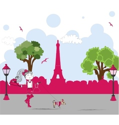 girl with cute little dog in paris vector image vector image