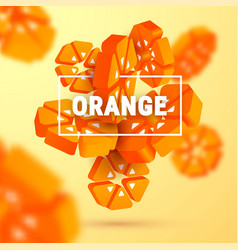 3d geometric orange background vector image
