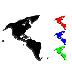 3d map of south and north america vector image