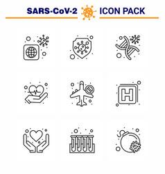 9 line viral virus corona icon pack vector
