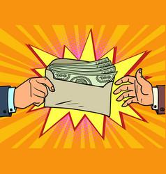 A bribe or bonus dollars in an envelope vector