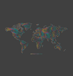 Abstract earth map consist of colorful stripes vector