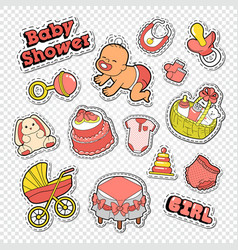 baby shower doodle with girl toys vector image