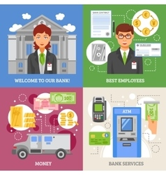 Bank Services 2x2 Design Concept vector
