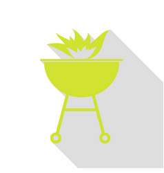 Barbecue with fire sign pear icon with flat style vector