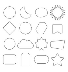 black line and isolated kids different shape icons vector image