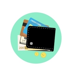 Black wallet with some money credit cards and vector image