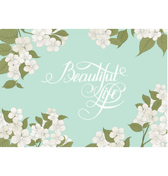 Blooming sakura rectangle frame vector
