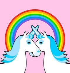 Blue unicorn and rainbow Symbol of LGBT community vector image