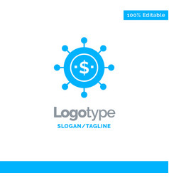 Business economics global modern blue solid logo vector