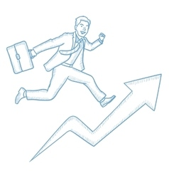 Businessman running on growth graph vector image